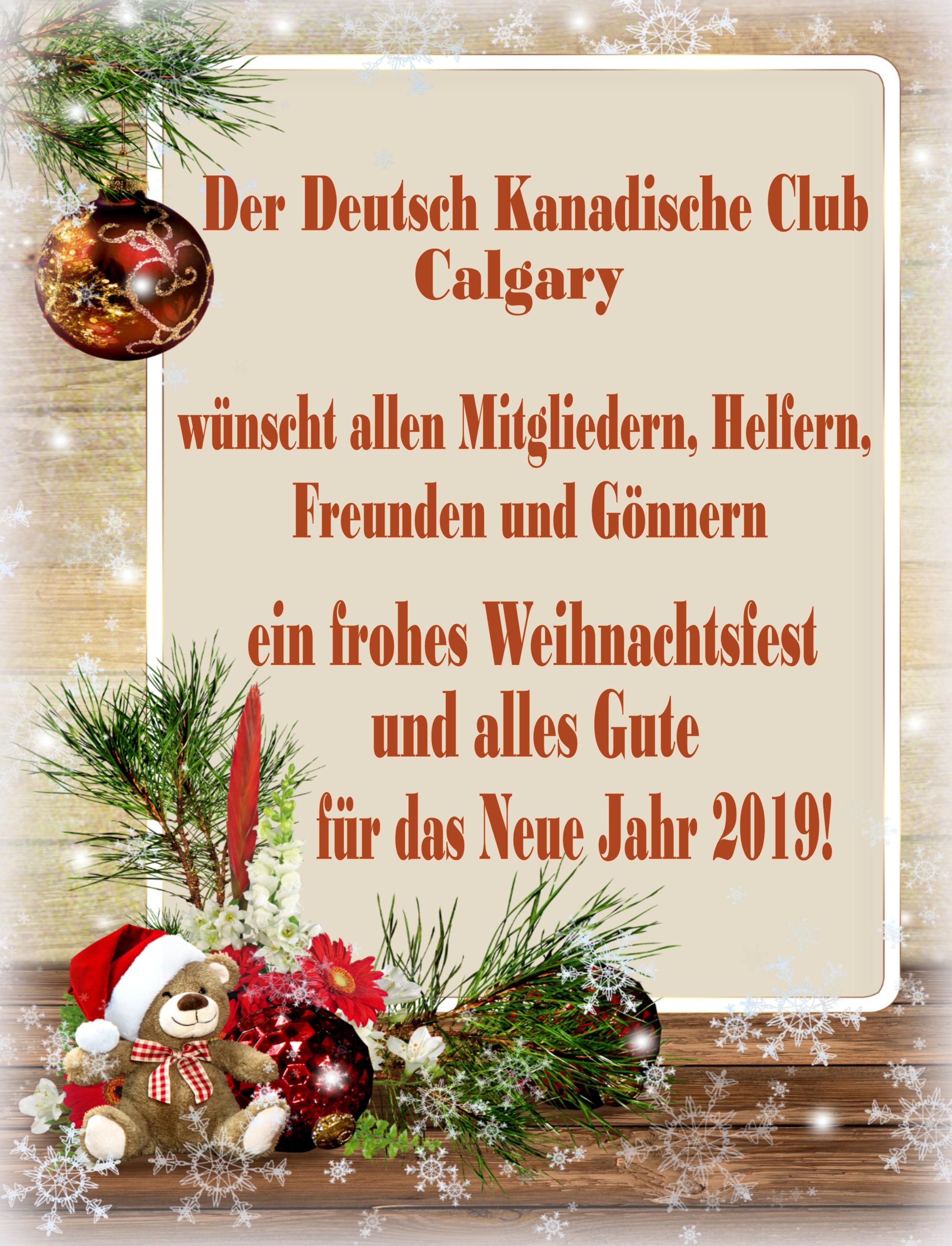 Weihnachtsgrüße Deutsch.Weihnachtsgruß Club Rot German Canadian Club Of Calgary